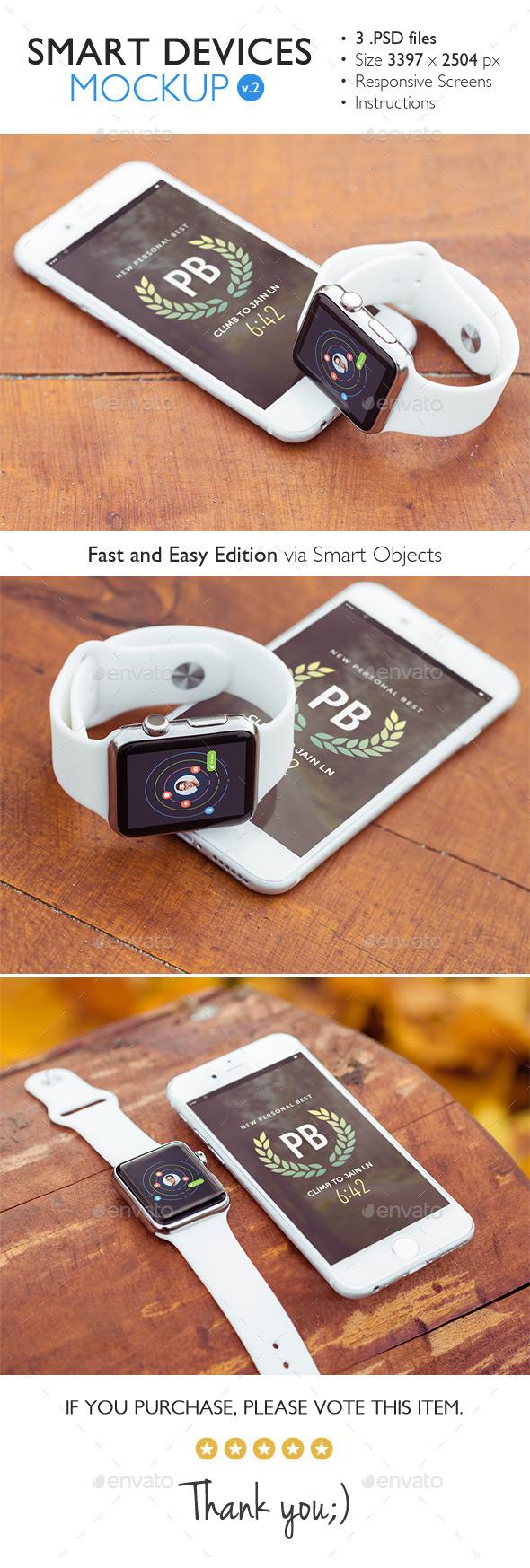 Smart Devices Mockup v.2 - Product Mock-Ups Graphics