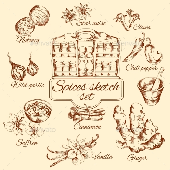 Spices Sketch Set - Food Objects