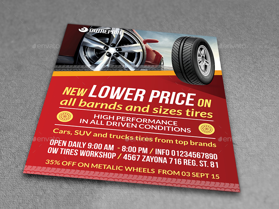 Tires Flyer Template by OWPictures – Workshop Flyer Template