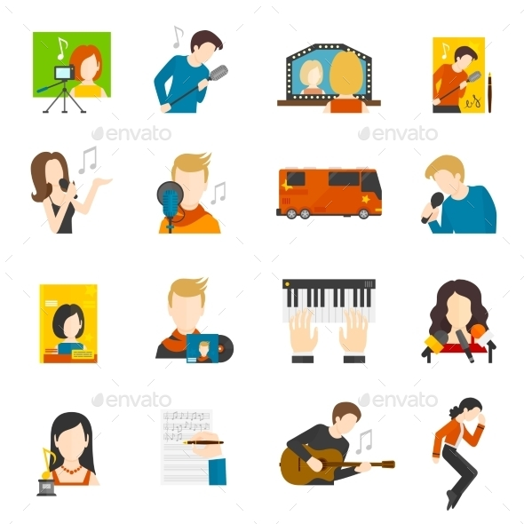 Pop Singer Flat Icons Set - People Characters