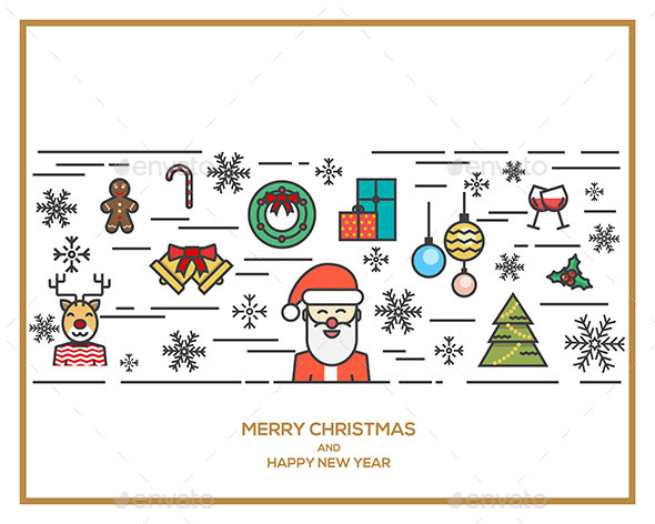 Christmas and New Year Flat Line Design Concept - Christmas Seasons/Holidays