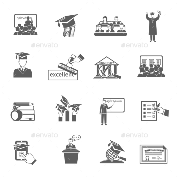 Higher Education Icon Black - Miscellaneous Icons