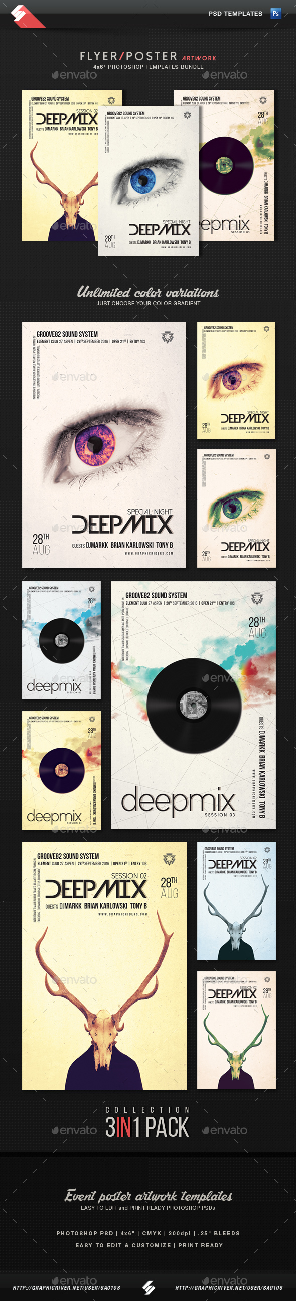 Deep Mix Trilogy - Party Flyer Templates Bundle - Clubs & Parties Events