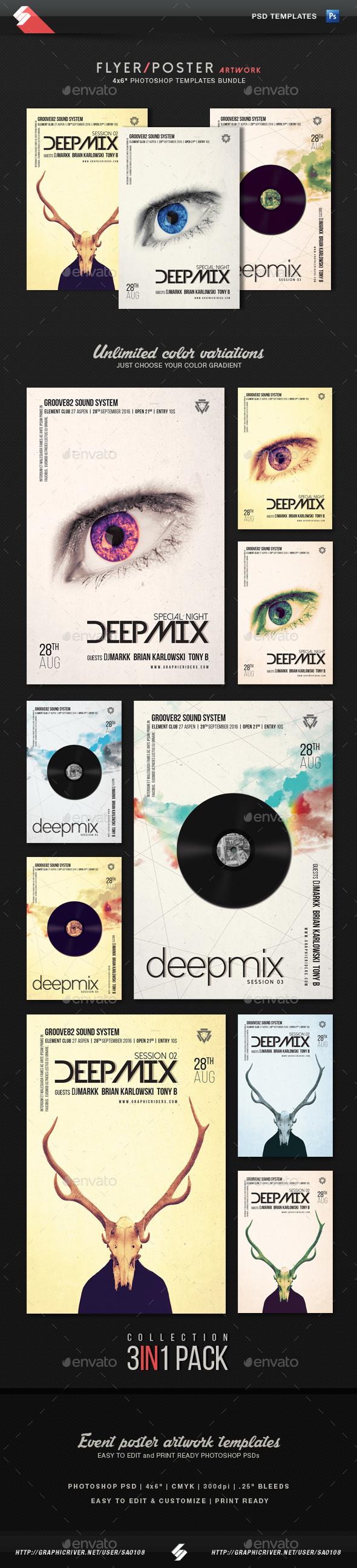 Deep Mix Trilogy - Party Flyer Templates Bundle - Clubs & Parties Events
