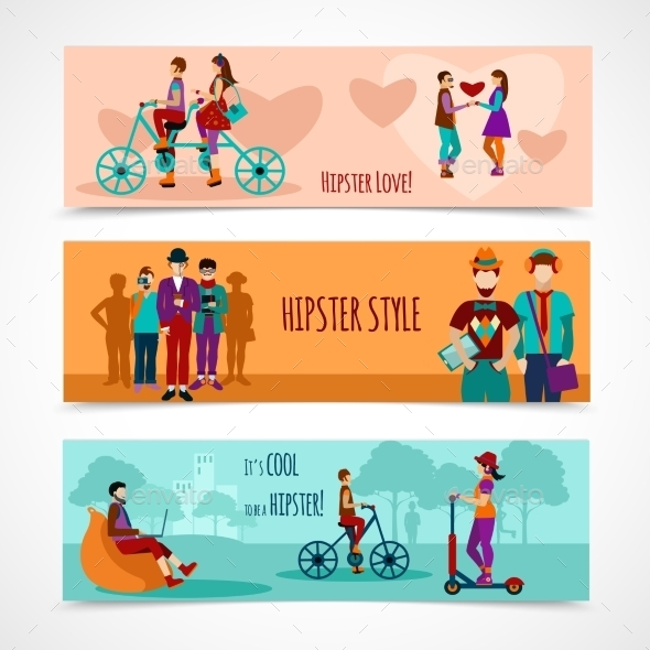 Hipster People Flat Banner Set - People Characters