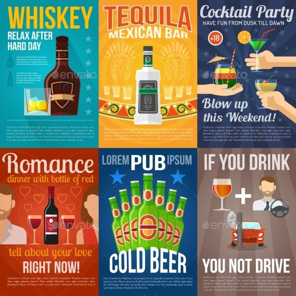 Alcohol Mini Poster Set - Food Objects