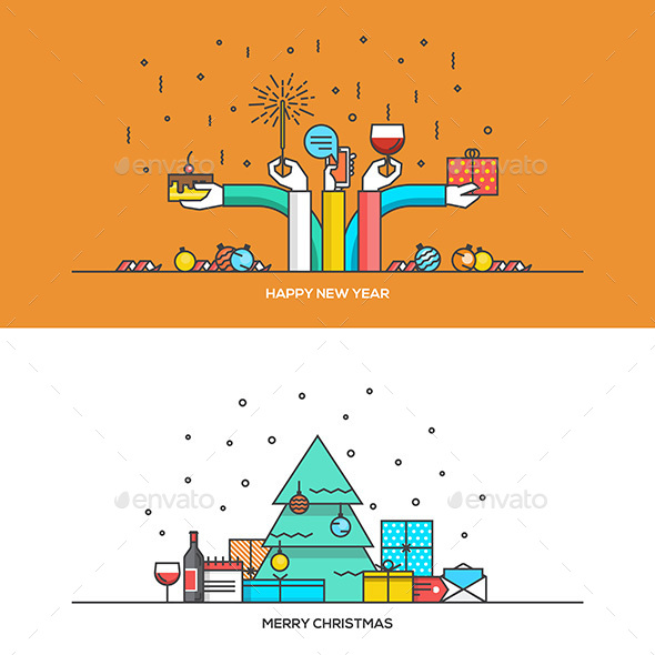 Christmas and New Year Flat Line Design - New Year Seasons/Holidays