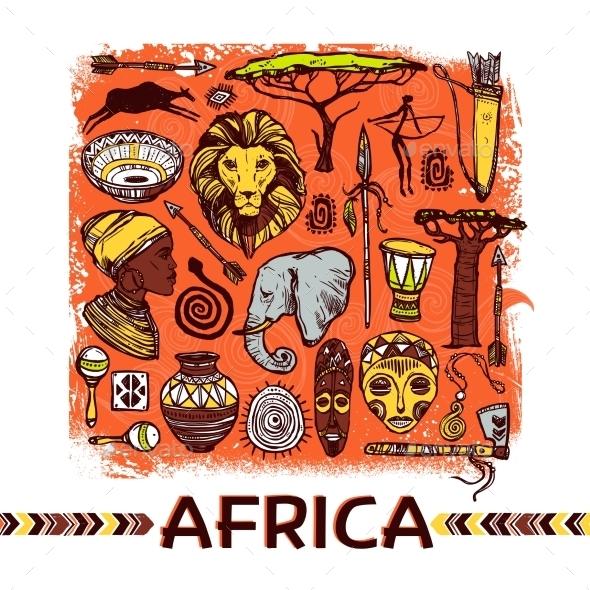Africa Sketch Illustration - Miscellaneous Vectors