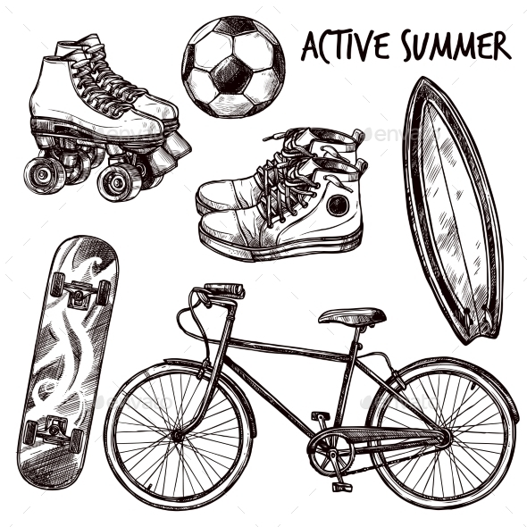 Active Recreation Sketch Set - Sports/Activity Conceptual