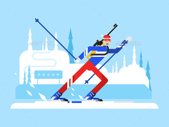 Sportsman Biathlon Character - Sports/Activity Conceptual