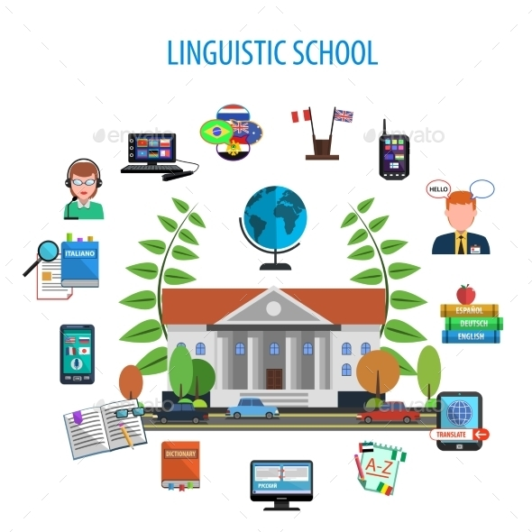 Linguistic School Flat Style Color Concept - Conceptual Vectors