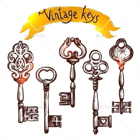 Vintage Sketch Keys - Objects Vectors