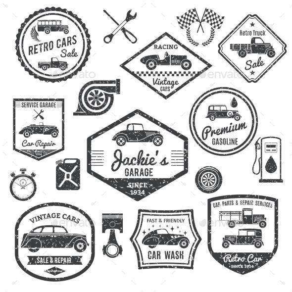 Retro Car Label Black Set - Miscellaneous Vectors