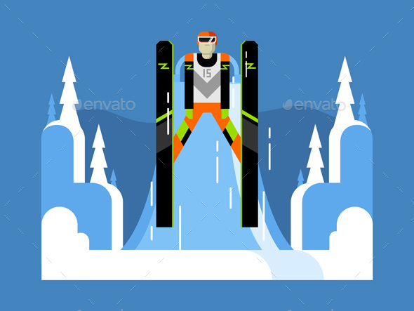 Ski Jumping Flat - Sports/Activity Conceptual