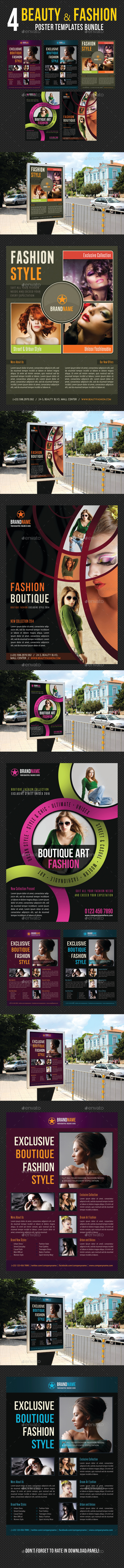 4 in 1 Beauty and Fashion Poster Bundle 03 - Signage Print Templates