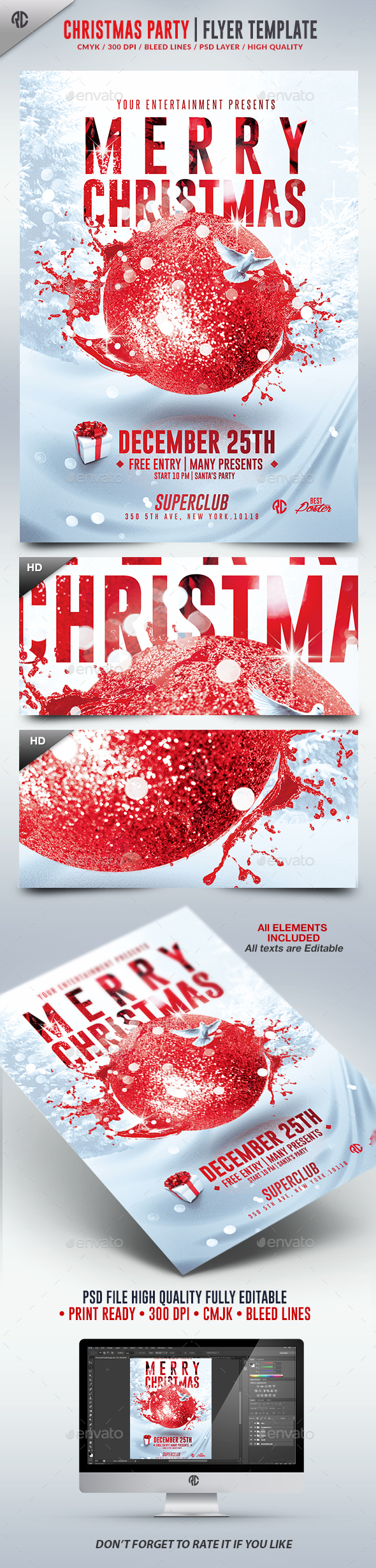 Christmas Party 2016 | Psd Flyer Template  - Flyers Print Templates