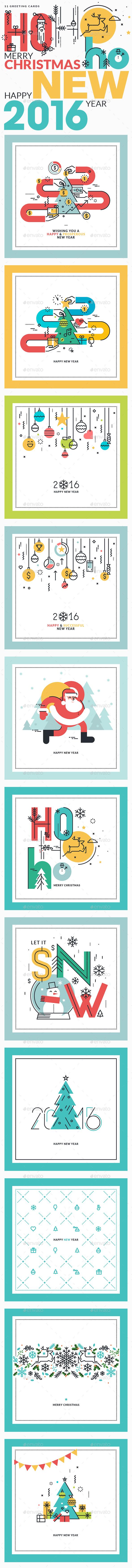 Set of Flat Line Design Christmas and New Year's - Christmas Seasons/Holidays