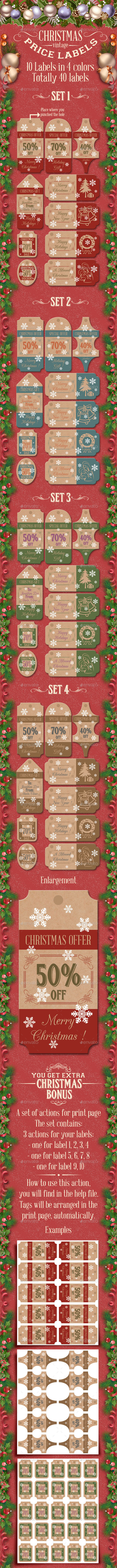 Christmas price labels - Packaging Print Templates