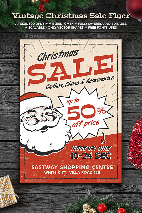 Vintage Christmas Sale Flyer - Holidays Events