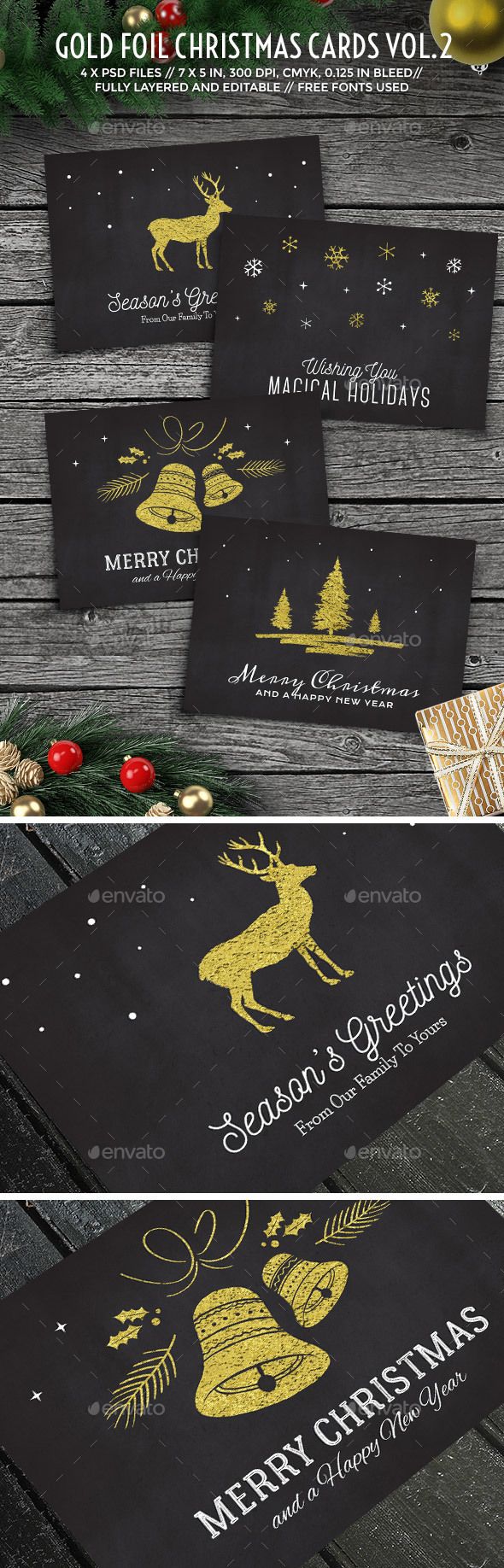 Gold Foil Christmas Cards Vol. 2