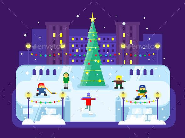 Municipal Skating Rink Christmas Tree - Christmas Seasons/Holidays