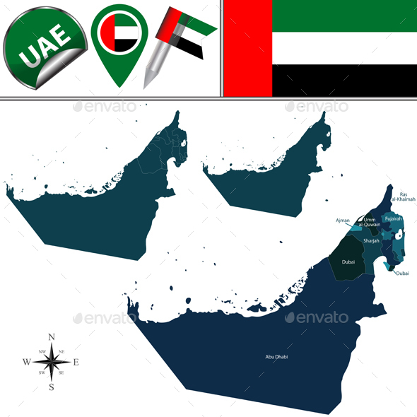 Map of United Arab Emirates - Travel Conceptual