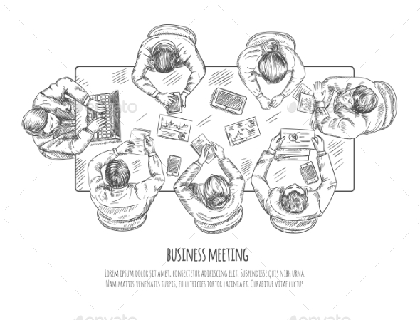 Business Meeting Sketch - Business Conceptual