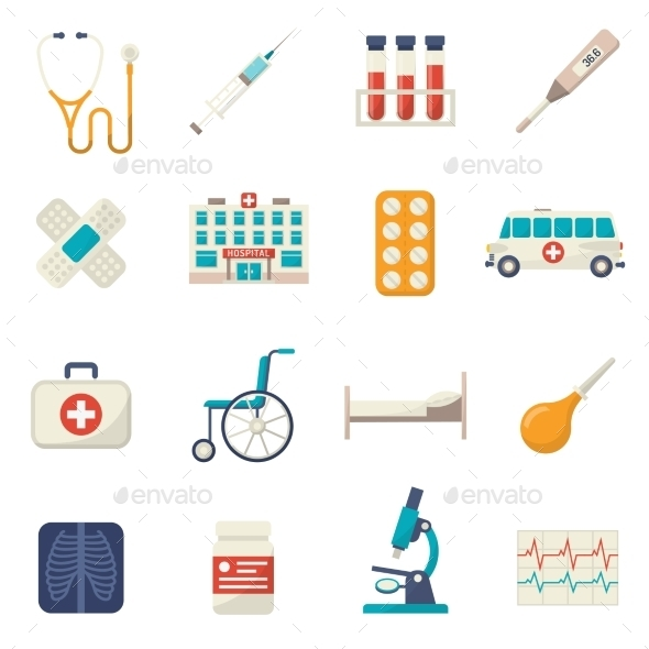 Medical Icons Flat Set - Miscellaneous Icons