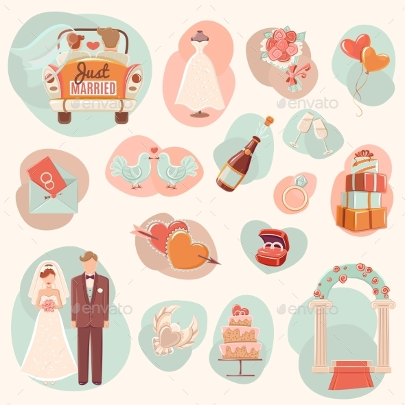 Wedding Concept Flat Icons Set - Weddings Seasons/Holidays
