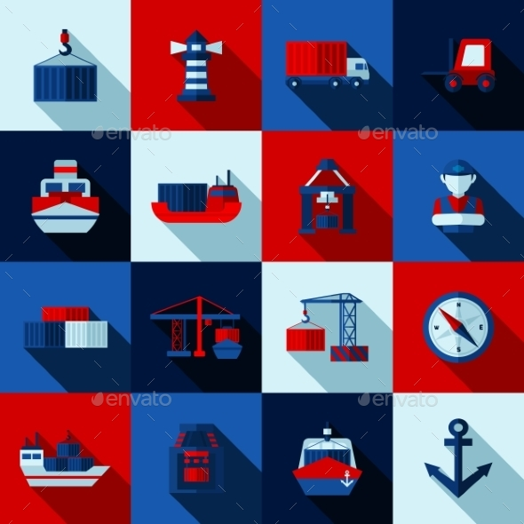 Seaport Color Flat Shadows  Icons  Set - Man-made objects Objects