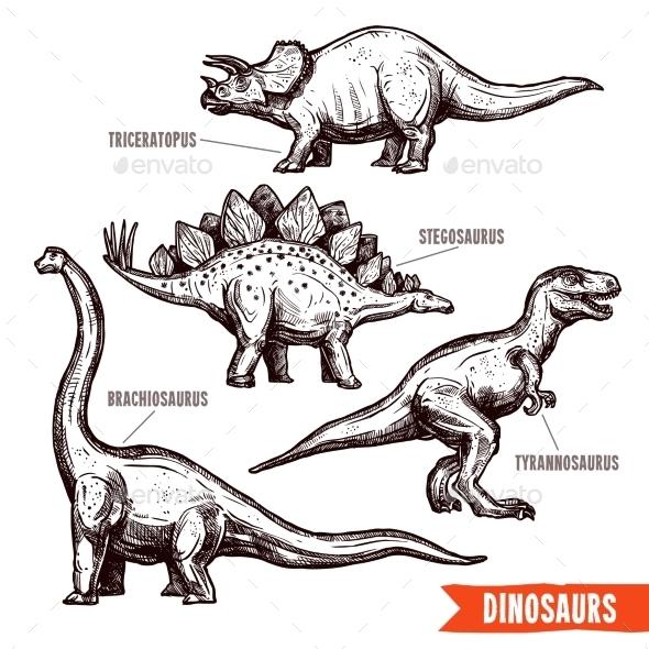 Hand Drawn Dinosaurs Set Black Doodle - Decorative Vectors
