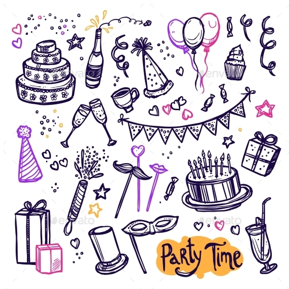 Birthday Party Doodle Pictograms Collection - Birthdays Seasons/Holidays