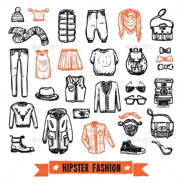 Fashion Clothes Hipster Doodle Icons Set - Objects Vectors