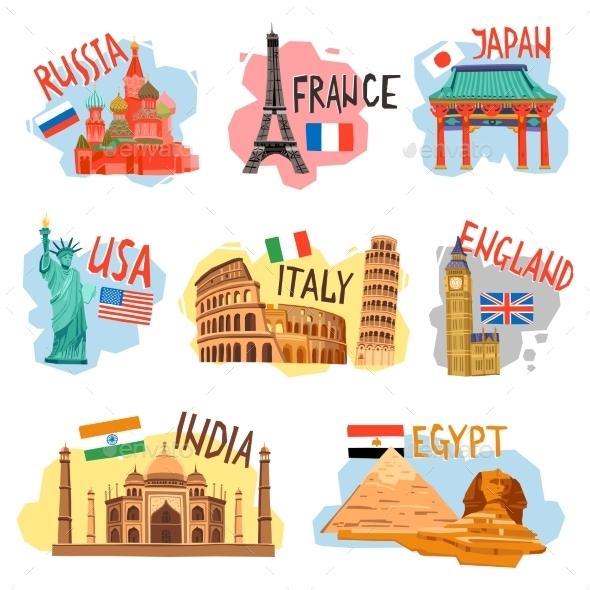 Tourism Vacation Travel Flat Pictograms Set - Travel Conceptual
