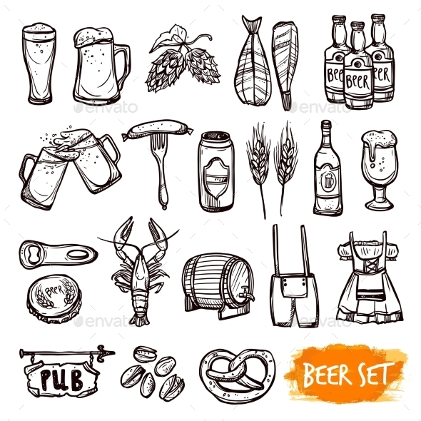 Beer Black Doodle Icons Set - Objects Vectors