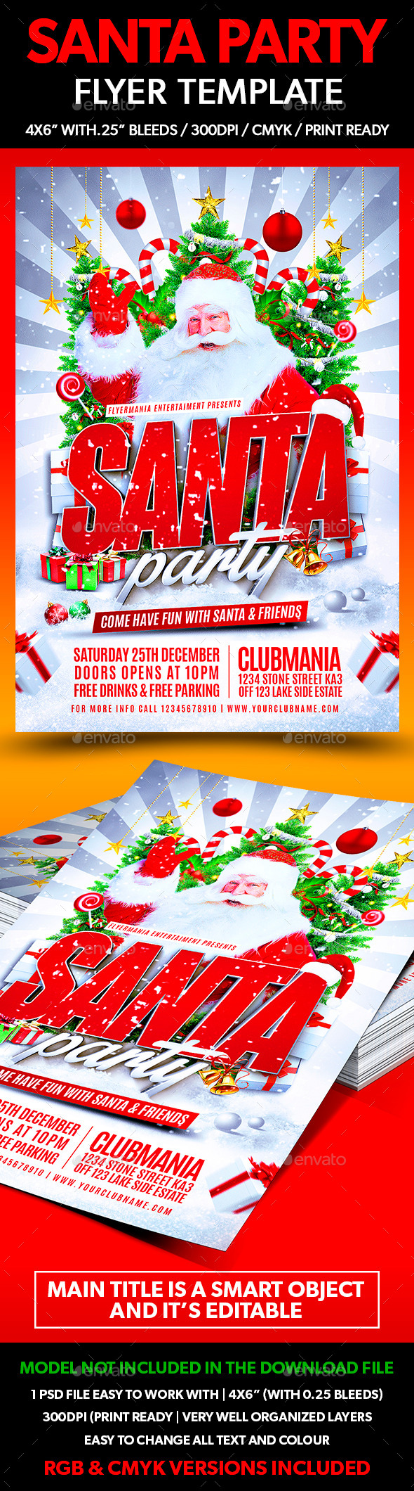 Santa Party Flyer Template - Flyers Print Templates