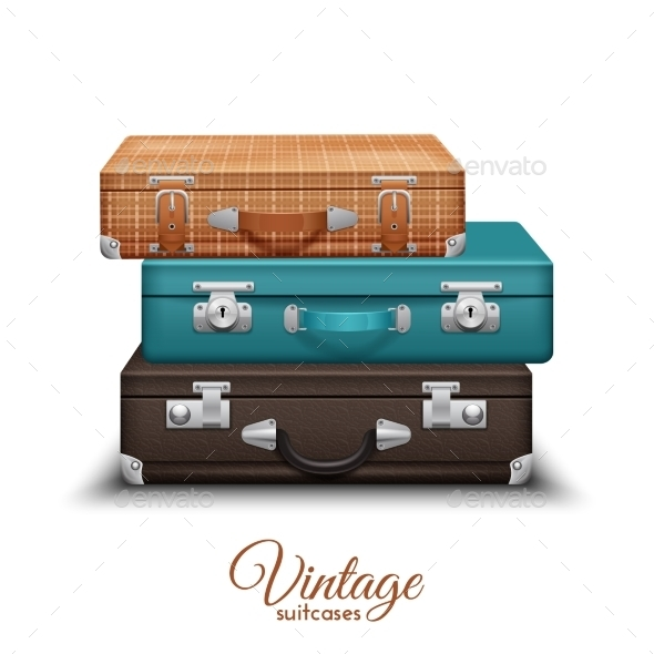Pile Of Old Vintage Suitcases - Objects Vectors