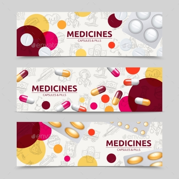 Pills Banner Set - Health/Medicine Conceptual