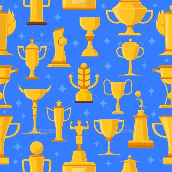 Awards And Cups Seamless Illustration  - Sports/Activity Conceptual