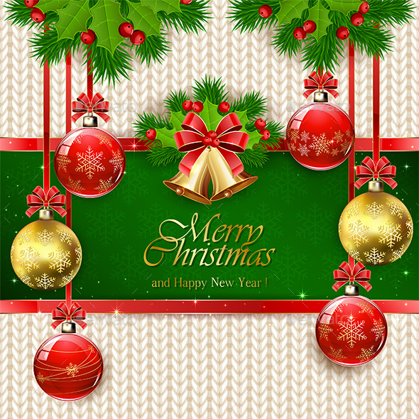 Christmas Balls and Bells on Green Background - Christmas Seasons/Holidays