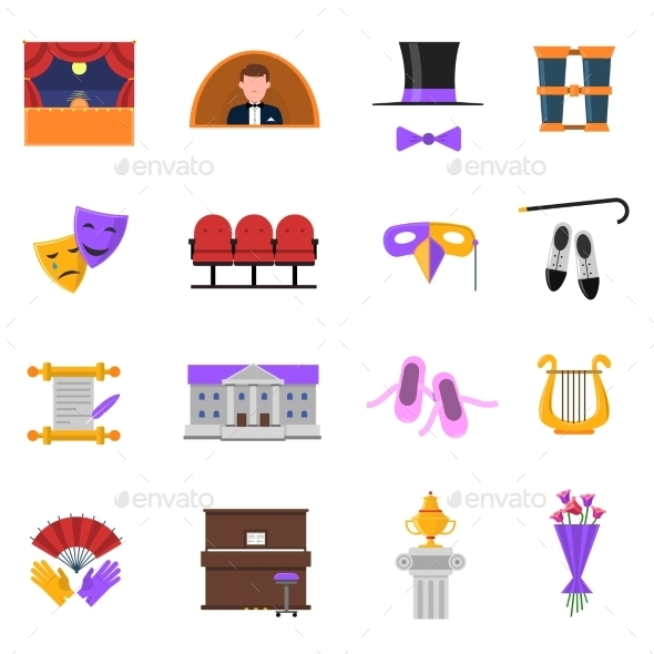 Theatre Icons Set  - Abstract Icons