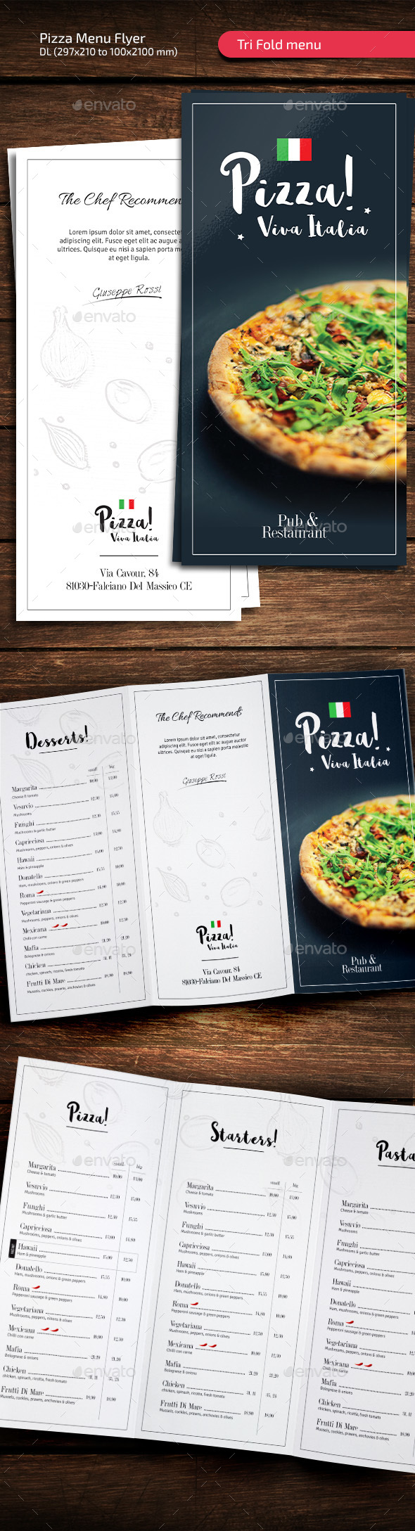 Pizza Italia - Tri Fold Restaurant Menu - Restaurant Flyers