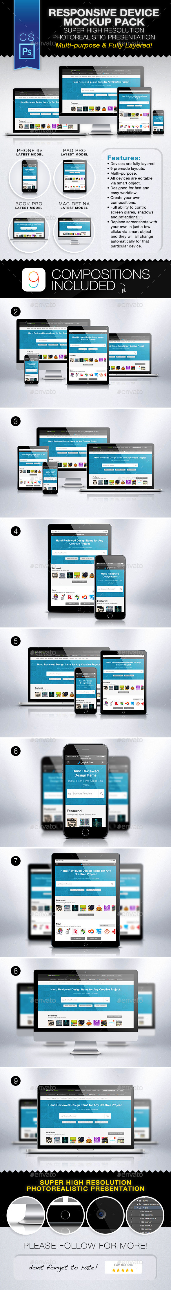 Responsive Device Mockup Pack - Multiple Displays