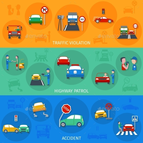 Traffic Violation Banner Set - Miscellaneous Vectors