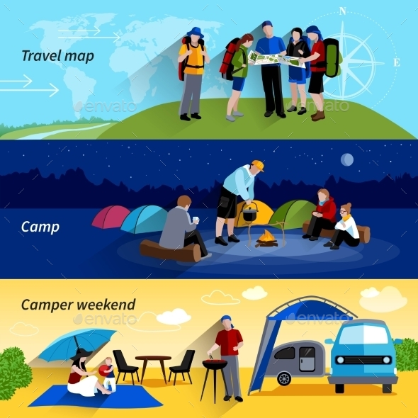 Camper People Banners Set - Travel Conceptual