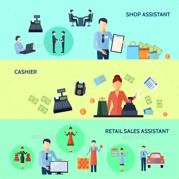 Banners Set Of Salesmen - Business Conceptual
