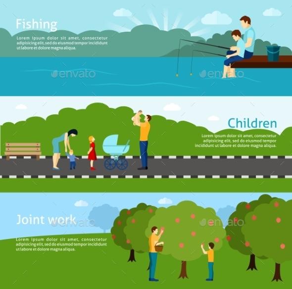 Fatherhood Horizontal Banners  Set - People Characters