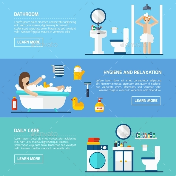 Personal Hygiene Flat Horizontal Banners Set - Miscellaneous Conceptual