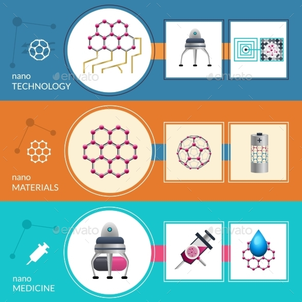 Nanotechnology Concept 3 Flat Banners Set - Technology Conceptual