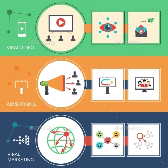 Viral Marketing Strategy Flat Banners Set - Business Conceptual